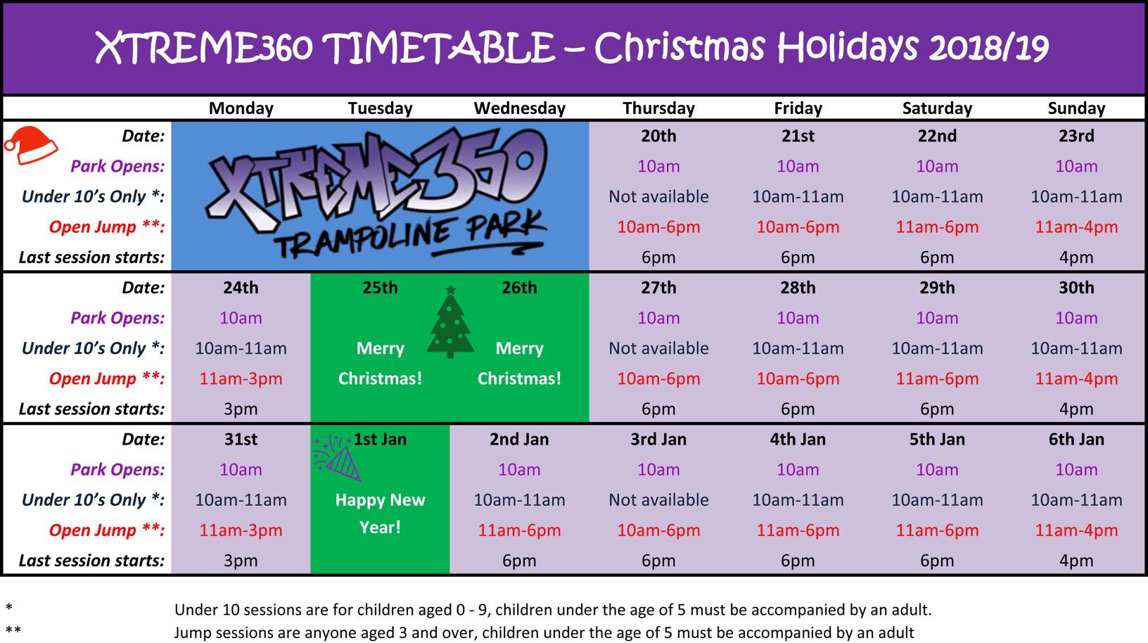 Christmas Holidays Timetable 2018