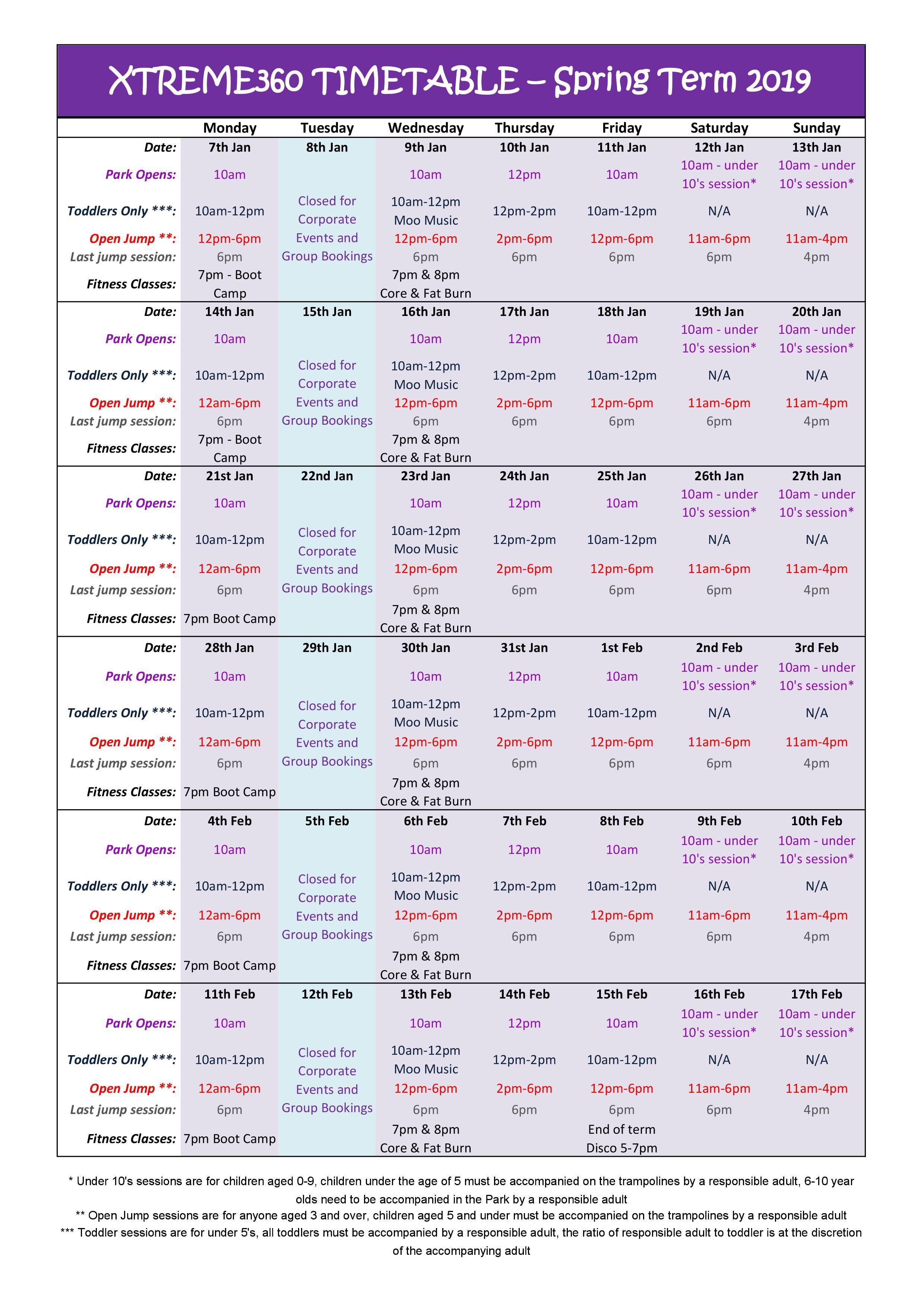 Xtreme360 Timetable Spring Term 2019