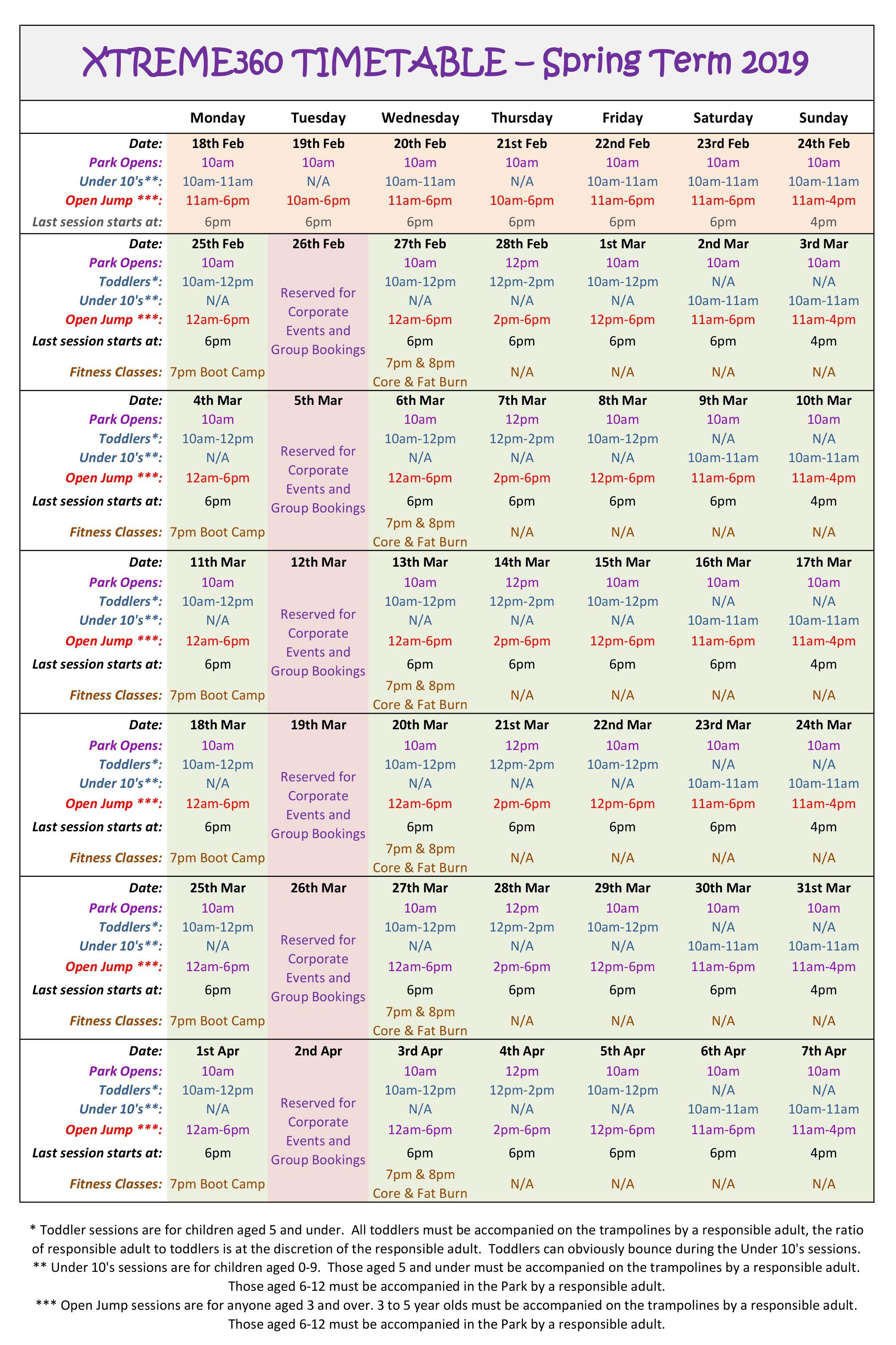 Xtreme360 Timetable Spring Term 2019 Second Half